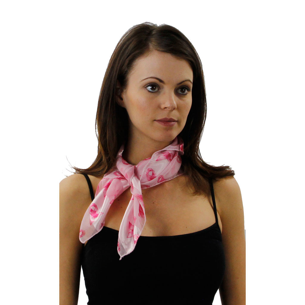 Breast Cancer Awareness Patterned Square Scarf In 3 Colors