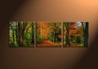 3 Piece Green Canvas Forest Landscape Art