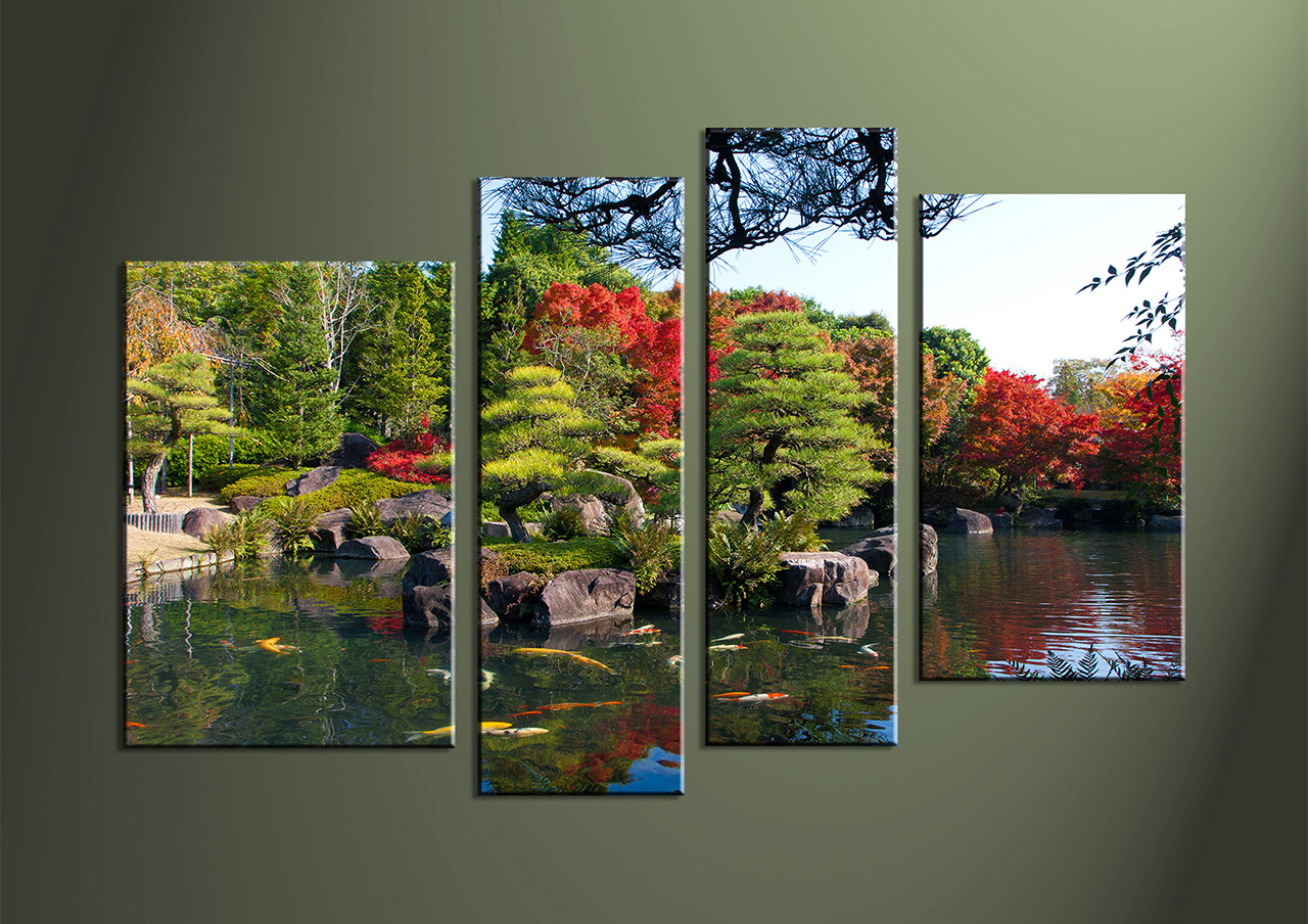 4 Piece Green Canvas Red Trees Wall Art