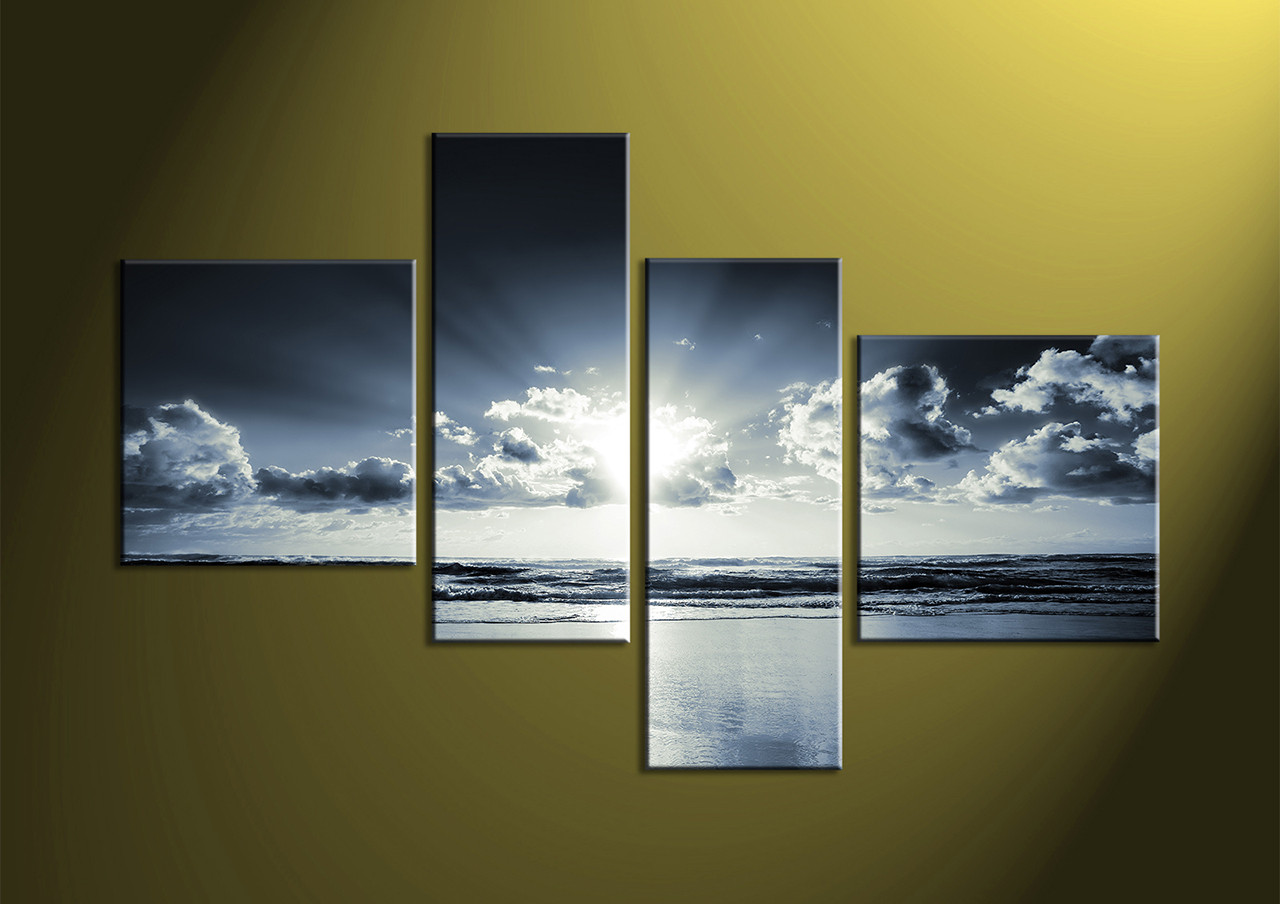 4 Piece Black And White Canvas Ocean Sunrise Blue Wall Art