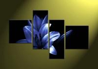 4 Piece Blue Floral Photo Canvas