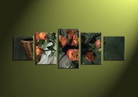 5 Piece Green Canvas Wall Art Red Floral Art