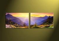 2 Piece Colorful Landscape Canvas Wall Art