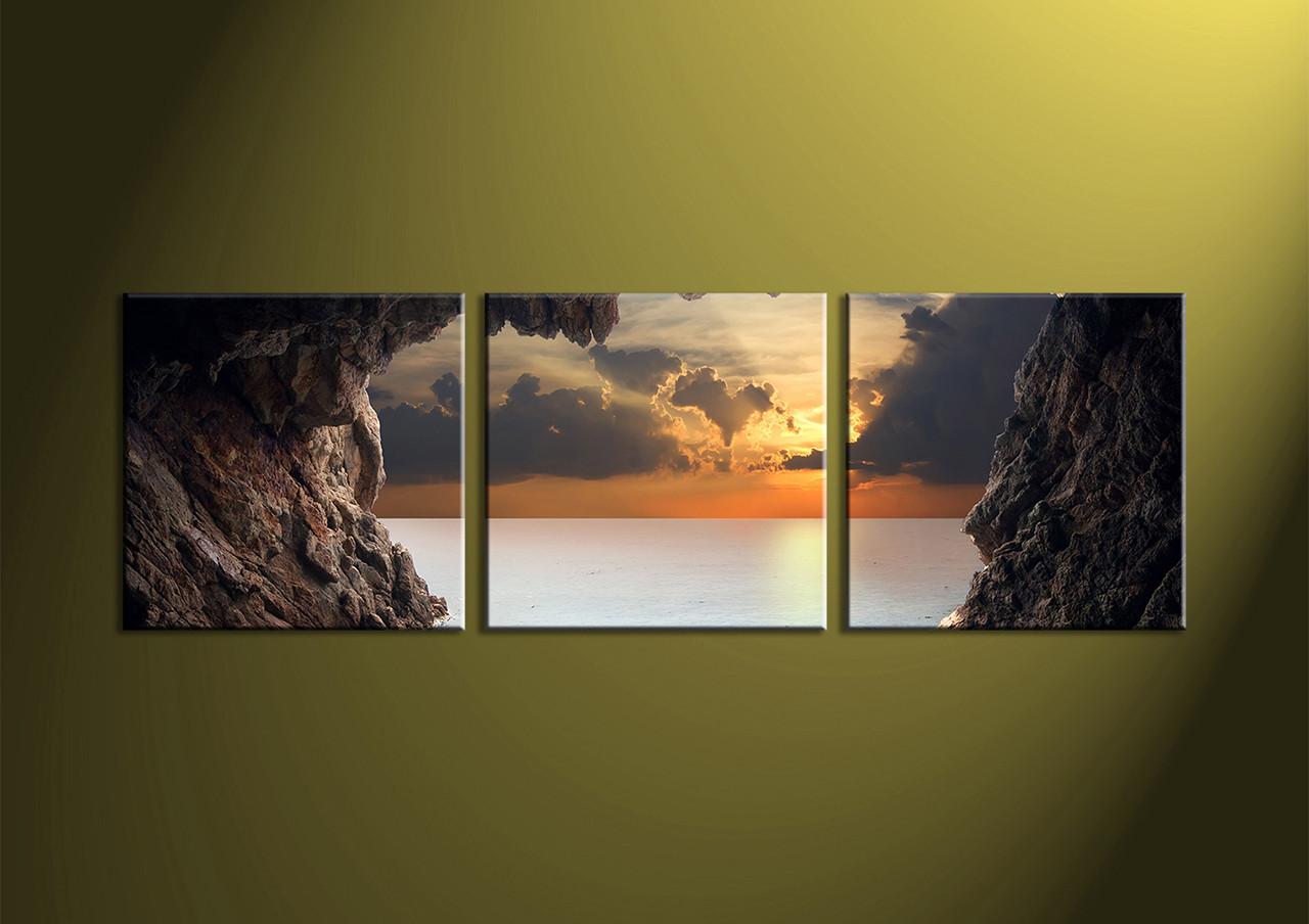 3 Piece Brown Canvas Ocean Wall Art