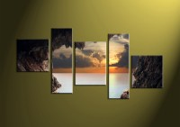 5 Piece Brown Canvas Sunset Ocean Large Pictures