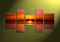 5 Piece Red Sunset Ocean Canvas Wall Art