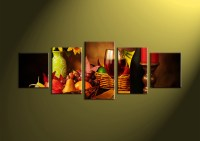 5 Piece Colorful Wine Fruits Canvas Pictures