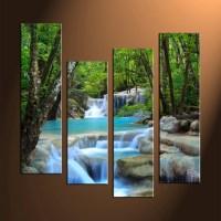 4 Piece Canvas Blue Waterfall Ocean Art