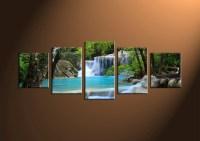 5 Piece Blue Waterfall Ocean Canvas Wall Art