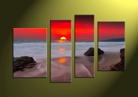 4 Piece Canvas Red Sunset White Ocean Wall Art
