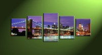 5 Piece Purple Cityscape Canvas City Wall Art
