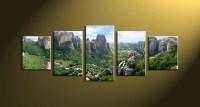 5 Piece Green Mountain Canvas Art