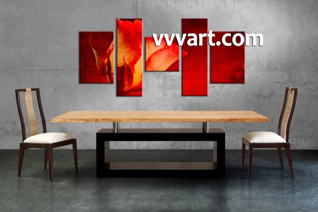 Red Flowers Modern Canvas Art Wall Decor Fl Oil Painting