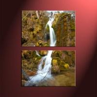 2 Piece Green Scenery Waterfall Wall Art
