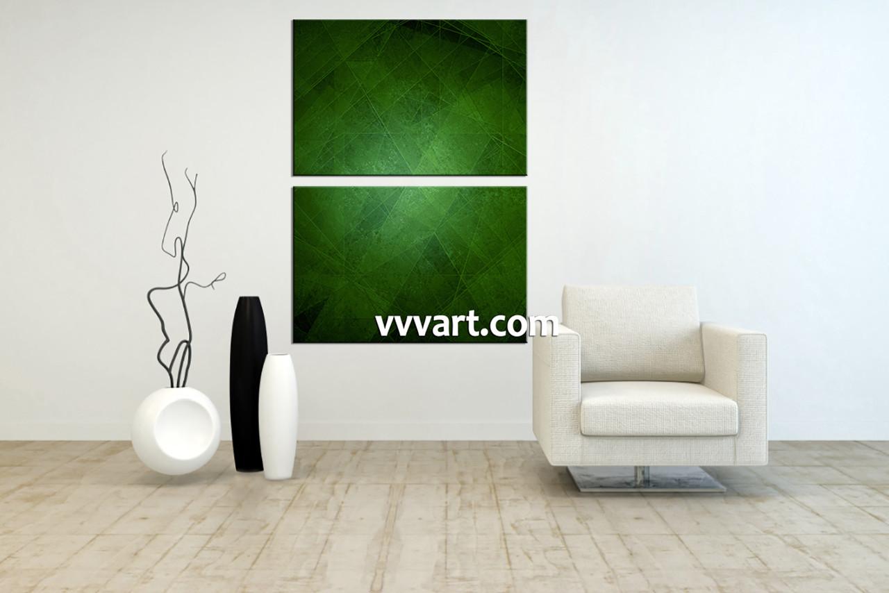 piece canvas green abstract wall art