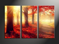 3 Piece Canvas Red Autumn Scenery Art