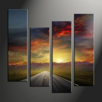 4 Piece Colorful Sunset Mountain Pathway Large Canvas