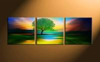 3 Piece Colorful Landscape Tree Canvas Wall Art