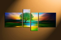 4 Piece Colorful Stars Landscape Tree Canvas Wall Art