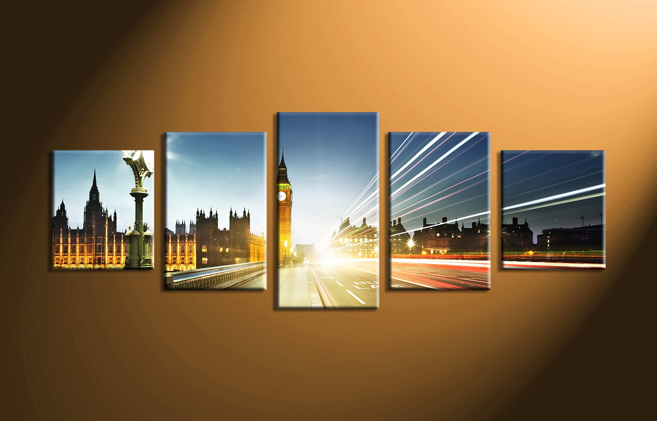 5 Piece Colorful London Clock Tower City Huge Pictures