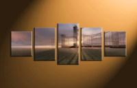 5 Piece Grey Canvas Modern Sunrise Wall Art