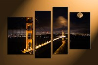4 Piece Black Canvas City Bridge Pictures