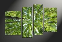 4 Piece Scenery Green Nature Trees Multi Panel Canvas