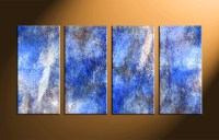 4 Piece Canvas Abstract Blue Wall Decor