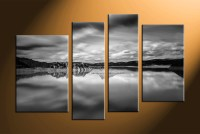 4 Piece Canvas Ocean Black and White Wall Art