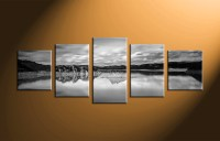 5 Piece Canvas Mountain Ocean Black and White Art