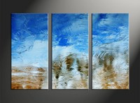 3 Piece Abstract Blue Canvas Wall Art