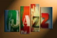 4 Piece Colorful Canvas Jazz Music Multi Panel Art ...