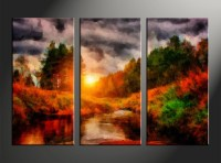 3 Piece Orange Canvas Nature Scenery Oil Paintings Wall Art