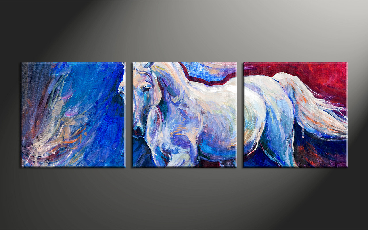 3 Piece Canvas Wall Art Horse