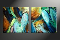 2 Piece Colorful Canvas Abstract Modern Oil Paintings Huge ...