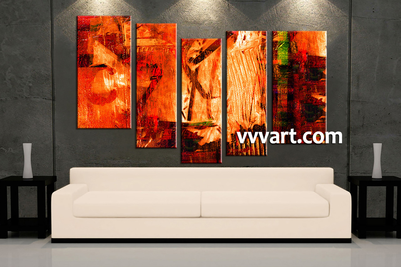 5 Piece Canvas Oil Paintings Red Abstract Artwork