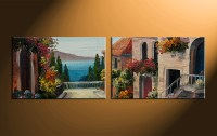 2 Piece Colorful Canvas City Oil Paintings Wall Art