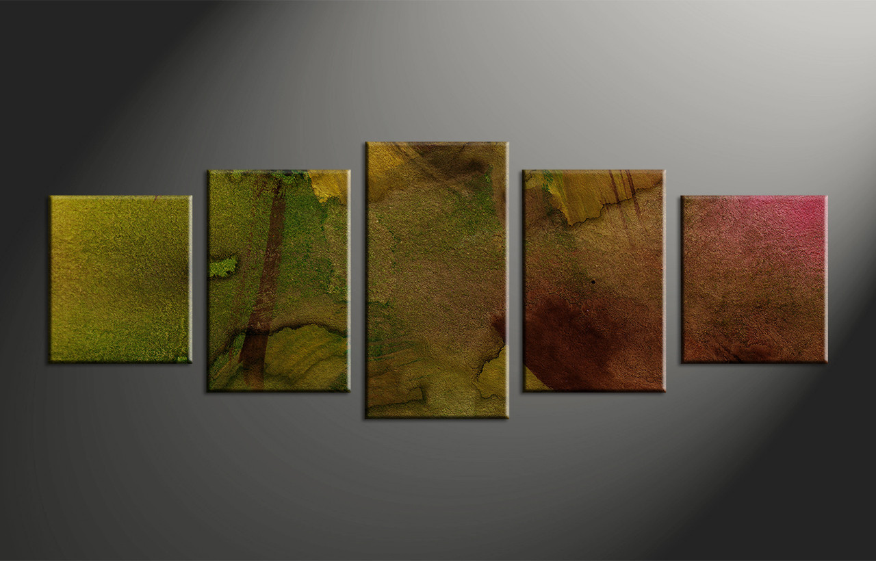 5 Piece Green Abstract Oil Paintings Multi Panel Canvas