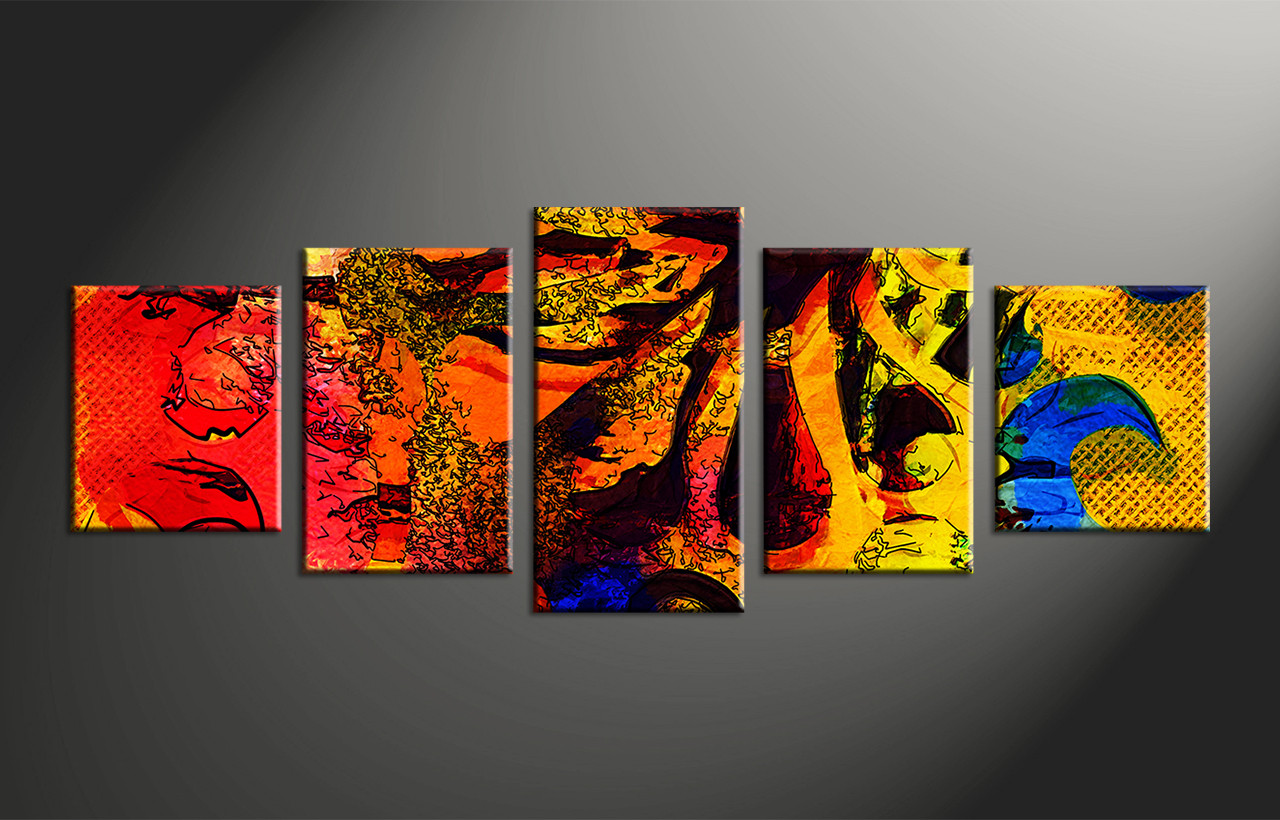 5 Piece Abstract Colorful Oil Paintings Photo Canvas