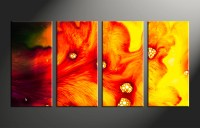 4 Piece Canvas Red Yellow Abstract Multi Panel Art