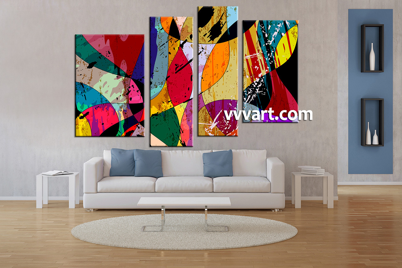 4 Piece Colorful Home Decor Abstract Canvas Wall Art