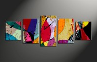 5 Piece Canvas Colorful Home Decor Abstract Multi Panel Art