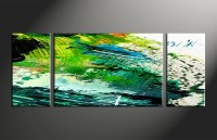 3 Piece Canvas Green Abstract Oil Paintings Wall Art