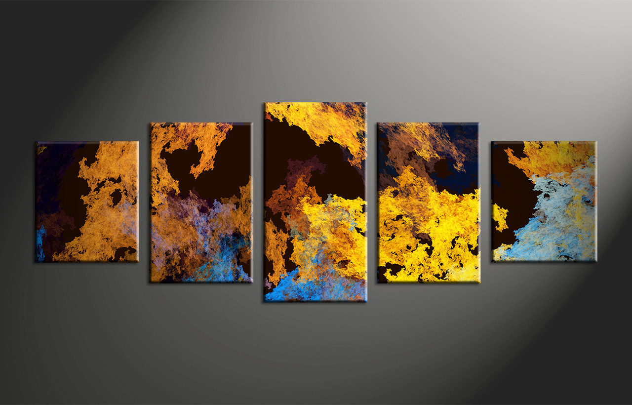 5 Piece Canvas Yellow Abstract Multi Panel Art