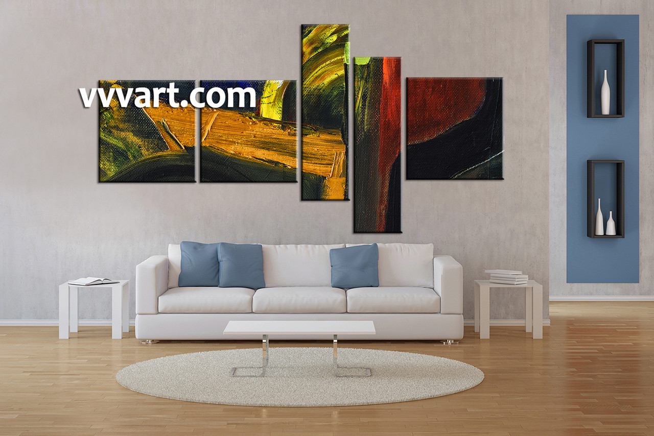5 Piece Colorful Home Decor Abstract Oil Painting Wall Art