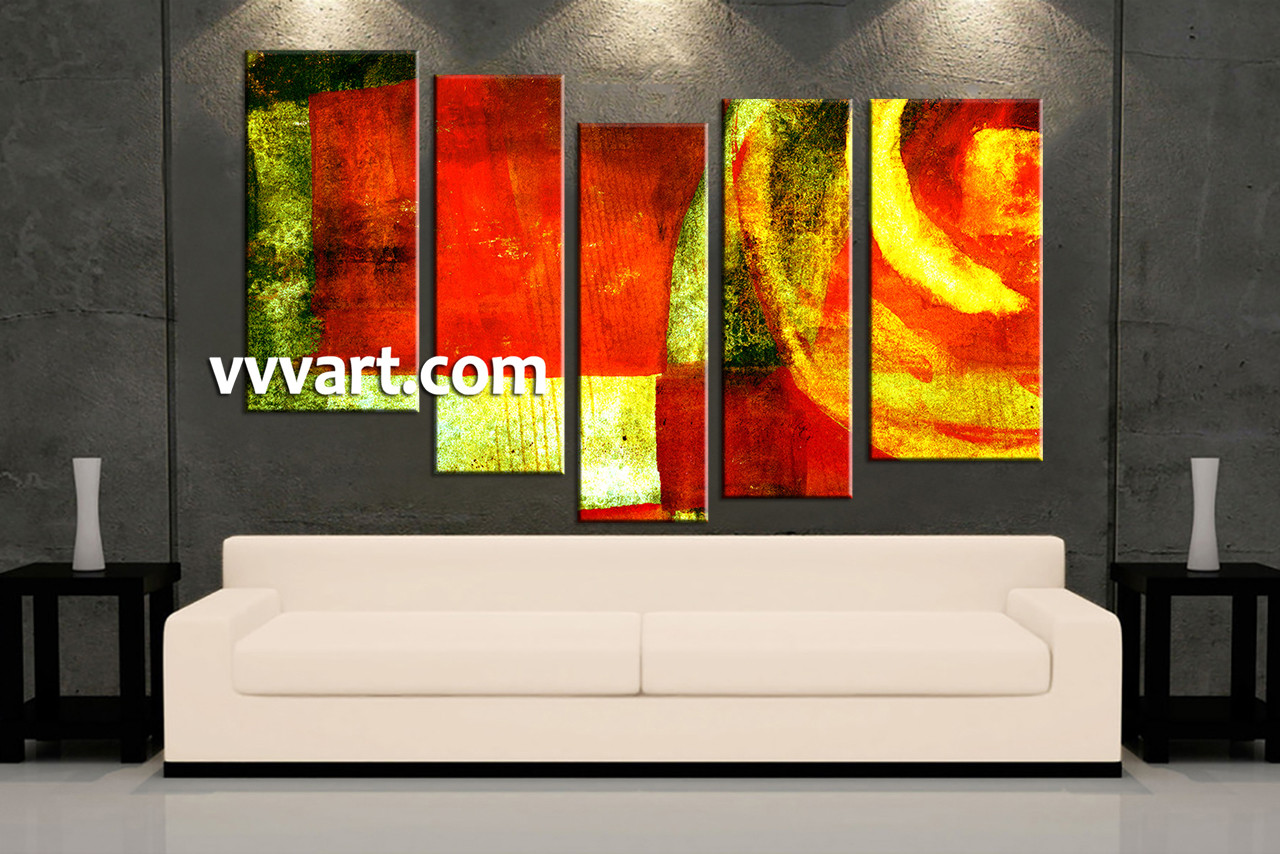 5 Piece Colorful Canvas Abstract Home Decor Wall Art