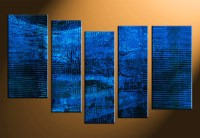 5 Piece Blue Abstract Canvas Wall Art