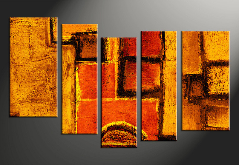 5 Piece Abstract Orange Canvas Photography