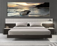 1 Piece Grey Canvas Ocean Wall Decor