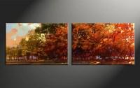 2 Piece Oil Paintings Orange Scenery Canvas Wall Art